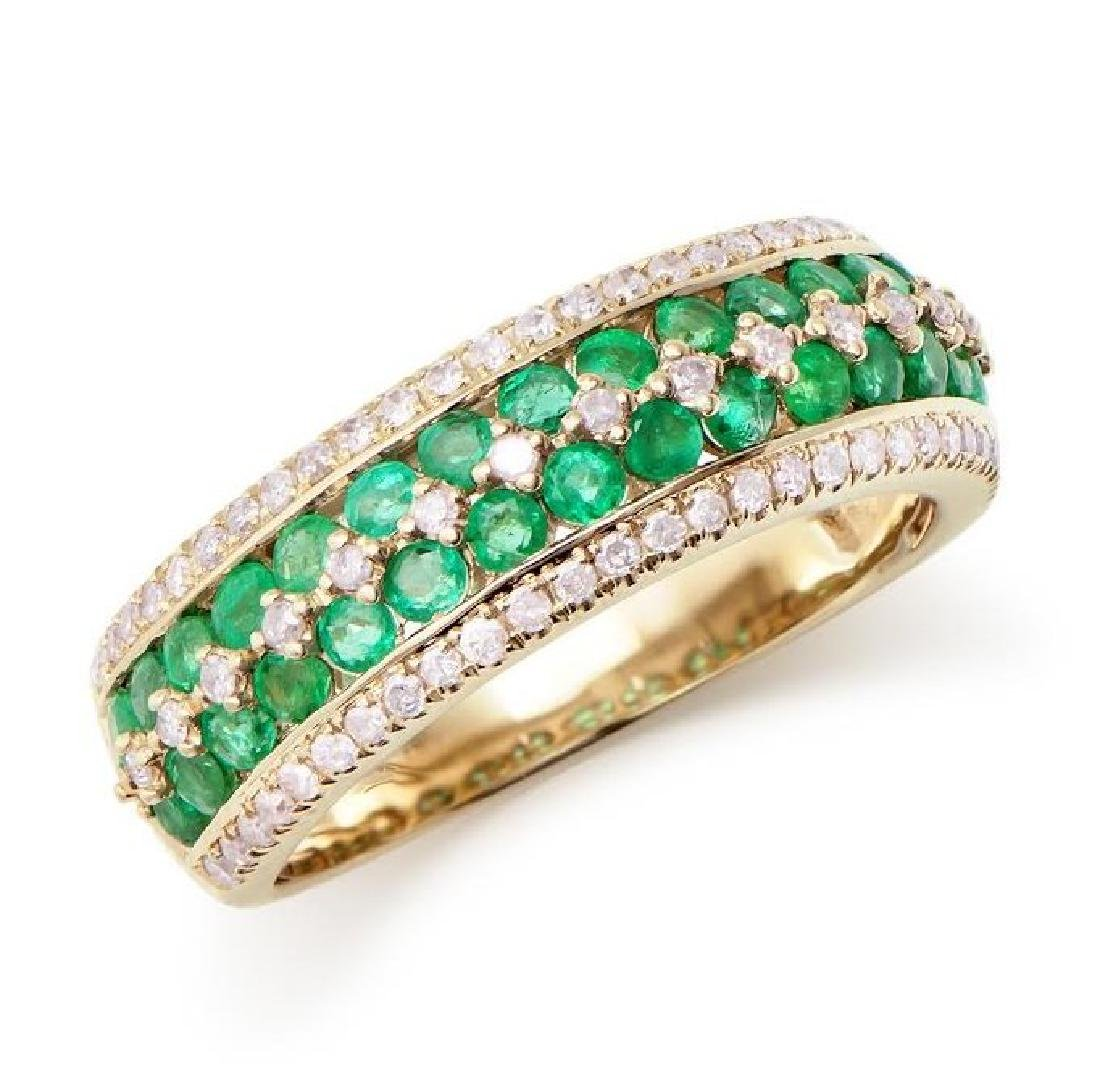 1.29 Cts Certified Emerald & Diamond 14K Ring $5,841.00