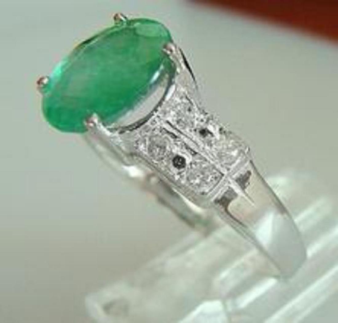 1.65 CT Emerald Diamond Ring Appraised $9,450 - 2