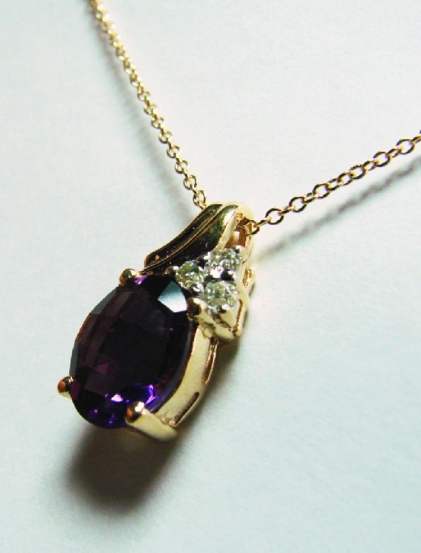 3.40 CT Amethyst Diamond Pendant Appraised $3,500