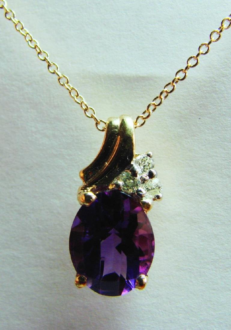 3.40 CT Amethyst Diamond Pendant Appraised $3,500 - 2
