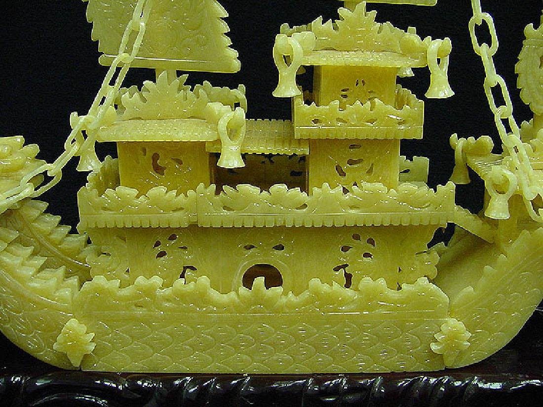 "HAND CARVED YELLOW JADE 24"" DRAGON BOAT - 4"
