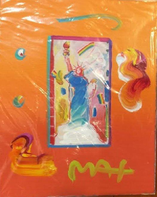 Max Statue of Liberty Hand Signed Original Mixed Media