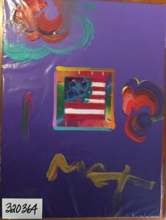 Max Flag With Heart  Hand Signed Original Mixed Media