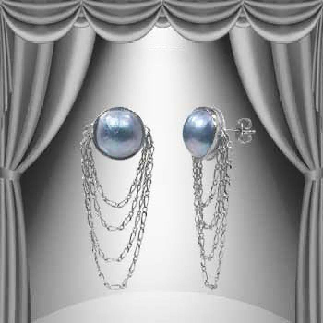 13mm Grey Mobe Pearl Dangle Earrings