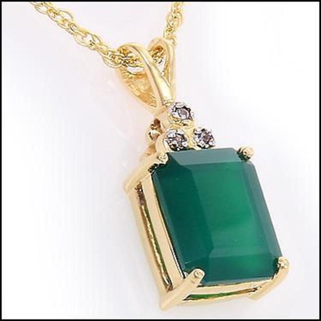 Genuine 4.7 CT Green Agate Diamond Pendant - 2