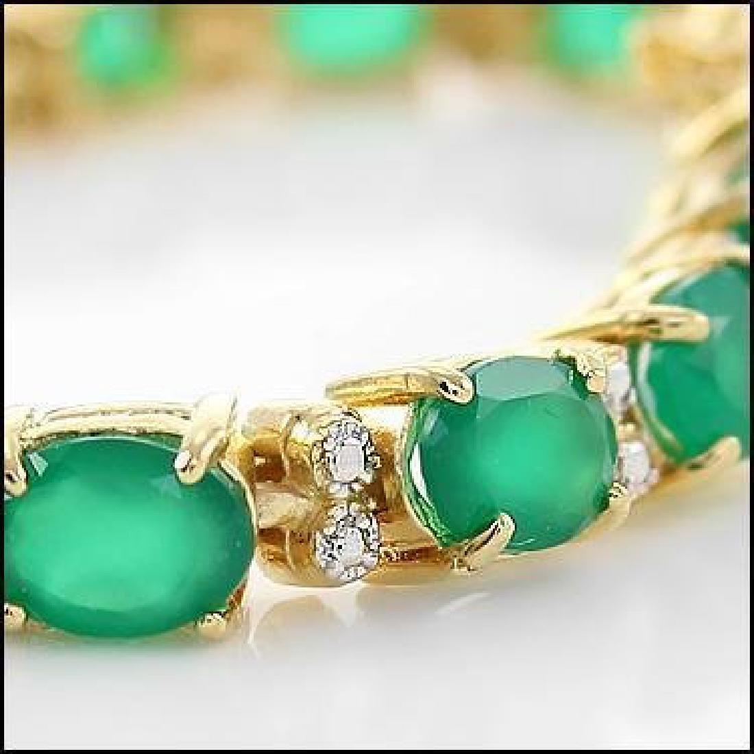 13 CT Green Agate Diamond Tennis Bracelet - 3