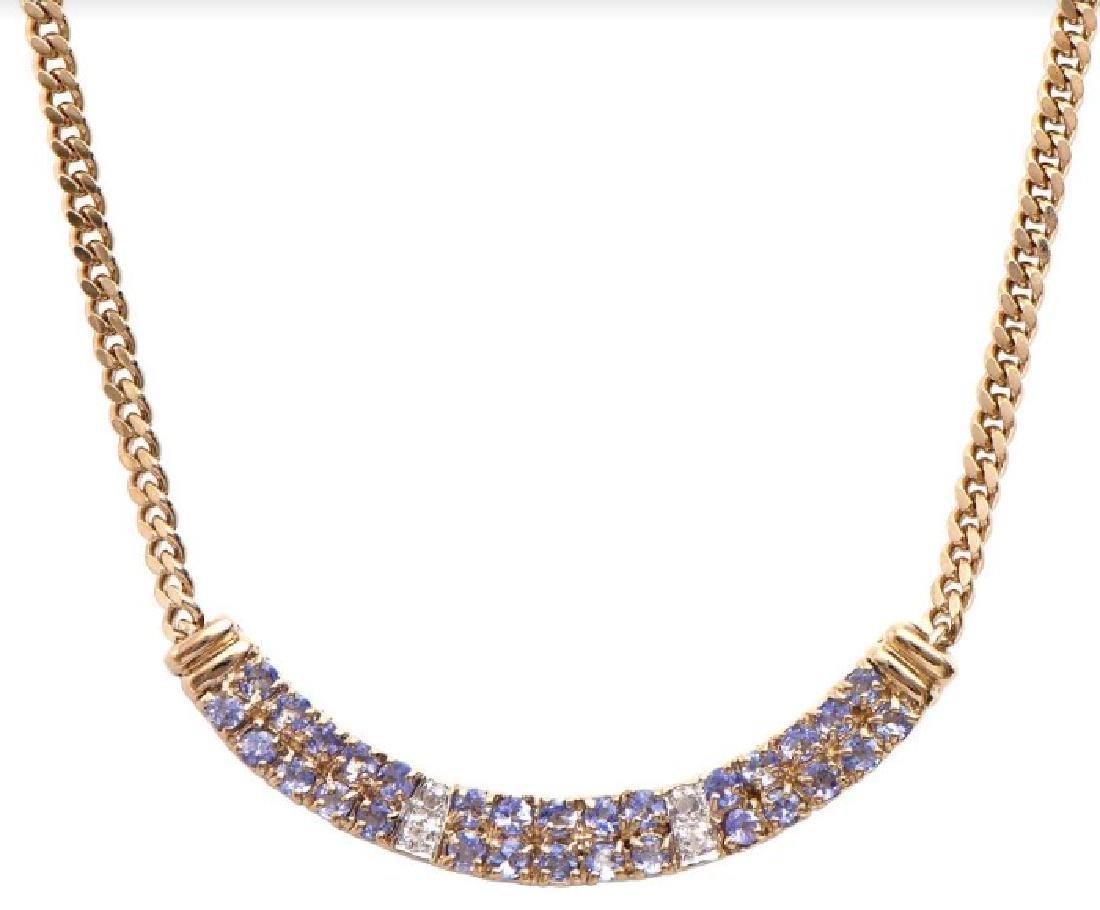 14.89 CT Tanzanite & Diamond Designer Necklace MSRP