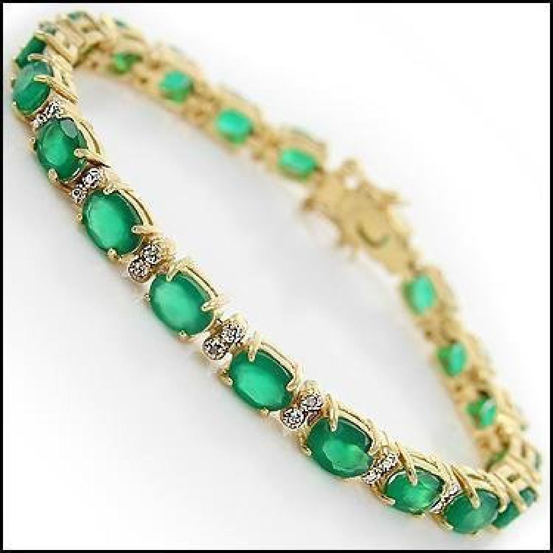 13 CT Green Agate Diamond Tennis Bracelet - 2