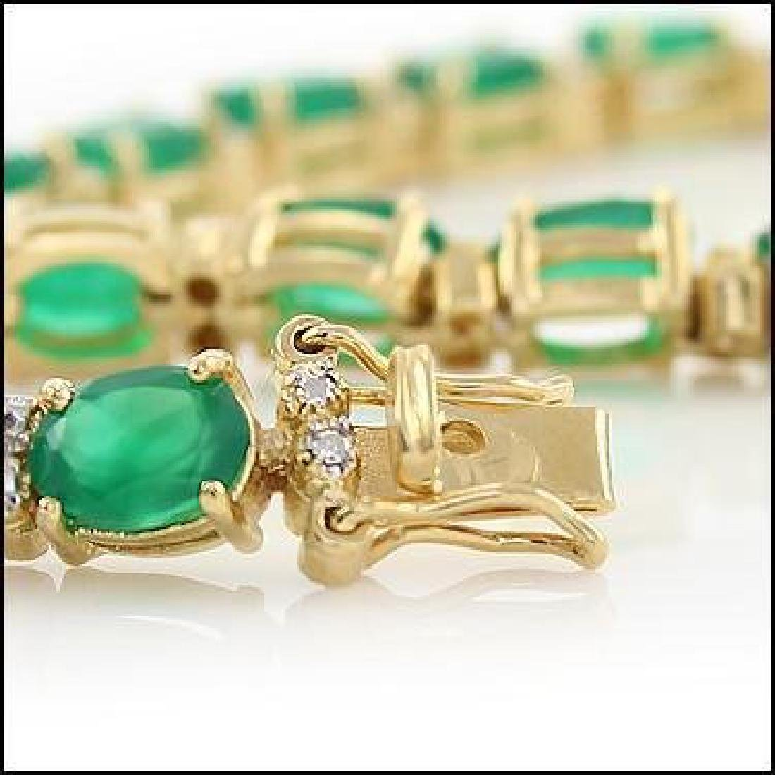 13 CT Green Agate Diamond Tennis Bracelet - 4