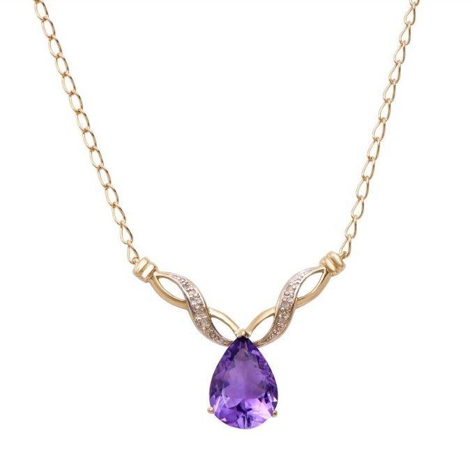 6.84 CT Amethyst & Diamond Designer Necklace $1,125
