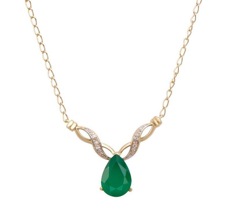 6.79 CT Green Agate & Diamond Designer Necklace $1,115