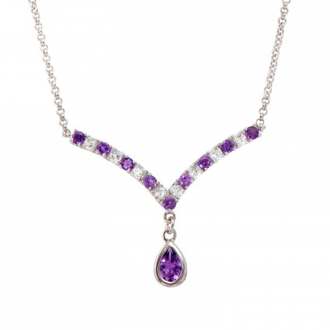 4.28 CT Amethyst & White Sapphire necklace $825