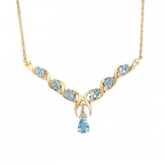 7.68 CT Blue Topaz & Diamond Designer Necklace $1,120