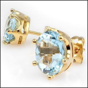 4.62 CT Swiss Blue Topaz Stud Designer Earrings $775 - 2