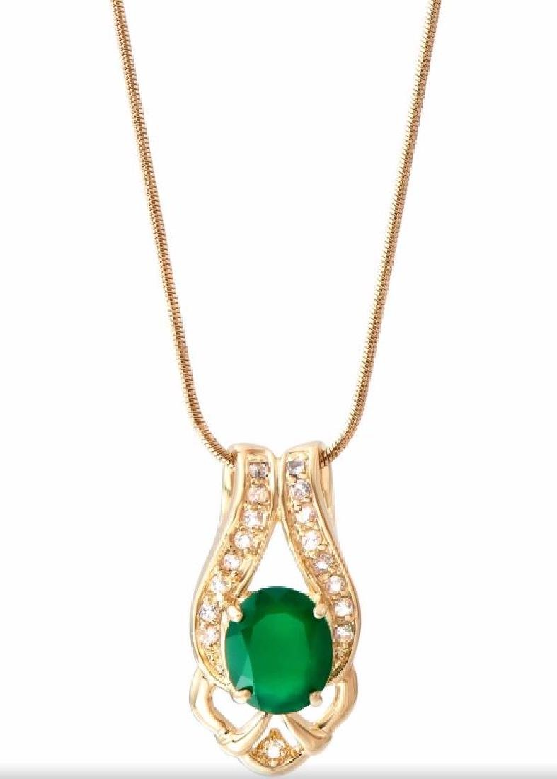 6.69 CTW Green Agate & Diamond Fine Necklace $1075