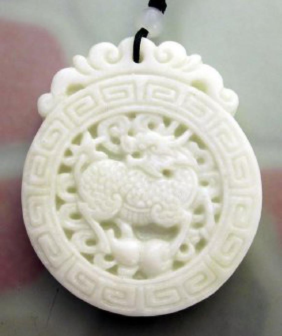 Chinese Jade Fortune Kylin Dragon Gourd Amulet