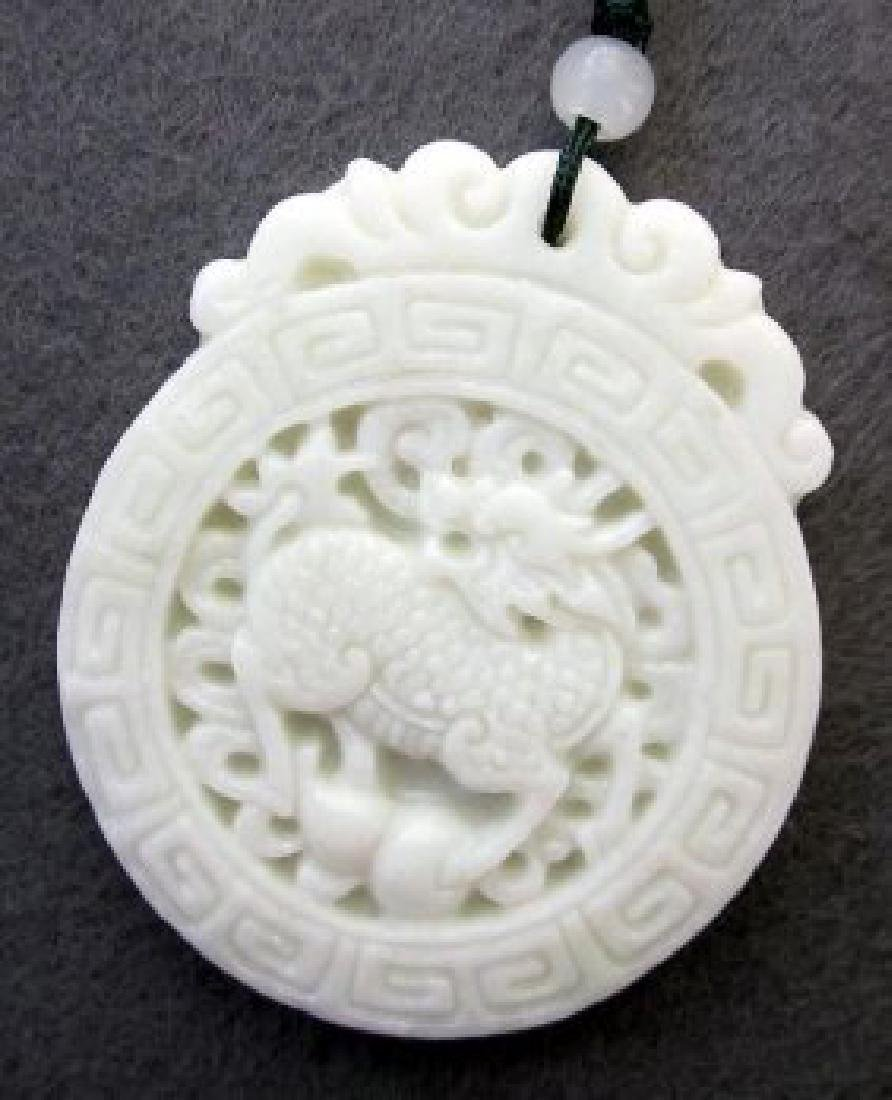 Chinese Jade Fortune Kylin Dragon Gourd Amulet - 2
