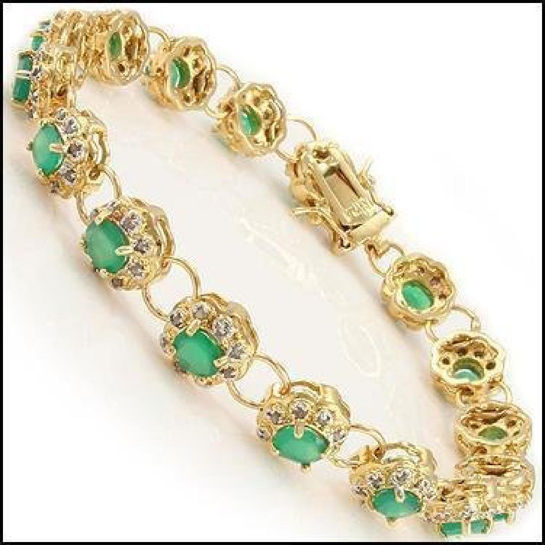 14.79 CT Green Agate & Diamond Fine Designer Bracelet