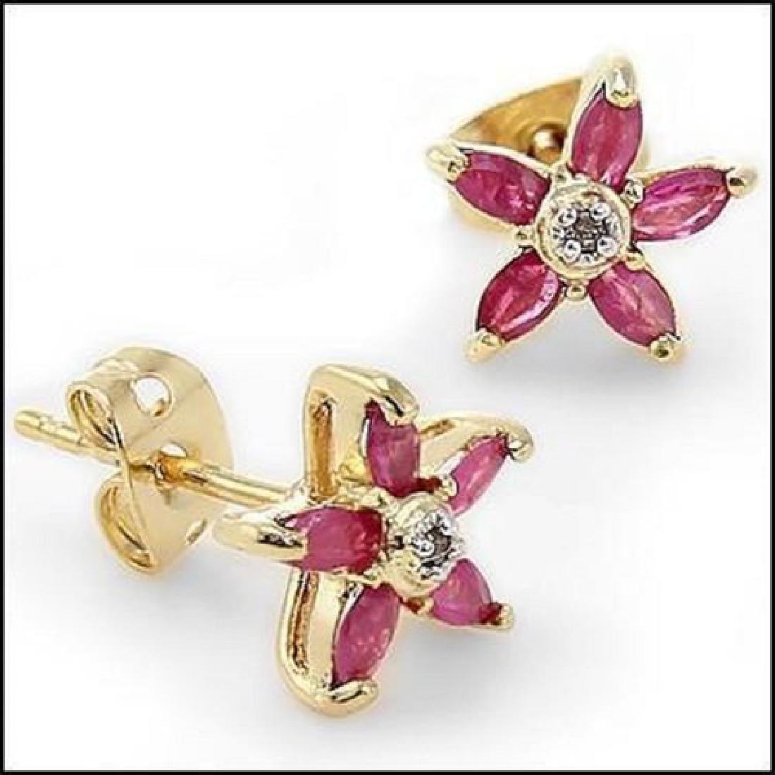 3.22 CT Ruby & Diamond Fine Designer Earrings $865