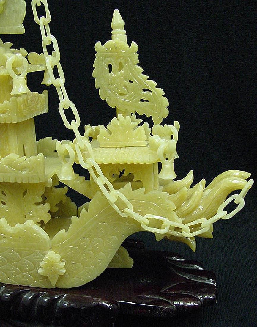 "HAND CARVED YELLOW JADE 24"" DRAGON BOAT - 3"