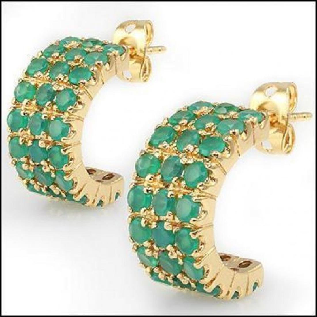 Jewelry Sale 6.02 CT Green Agate Stud Designer Earrings - 2