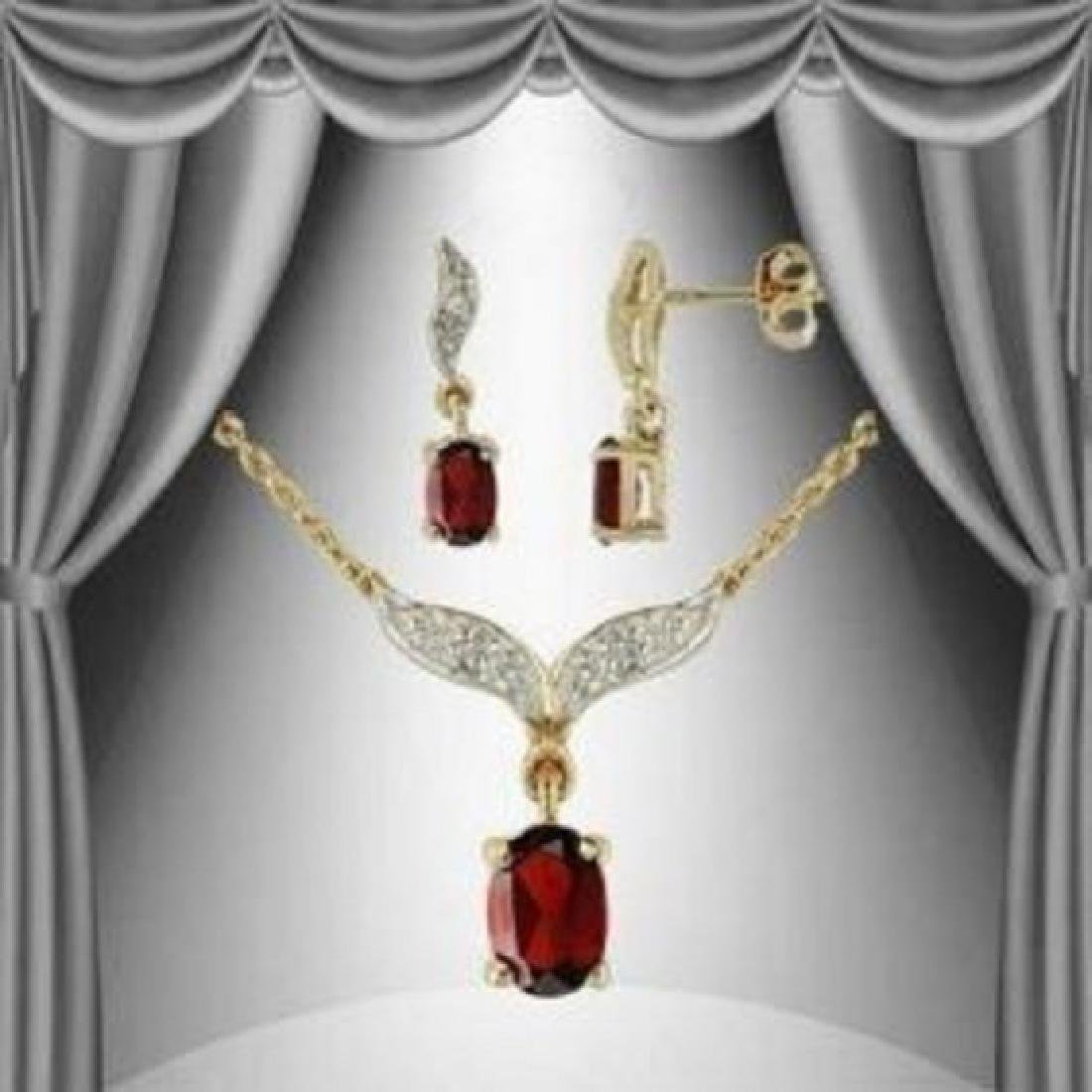 4.32 CT Garnet & Diamond Designer Fine Set $1145
