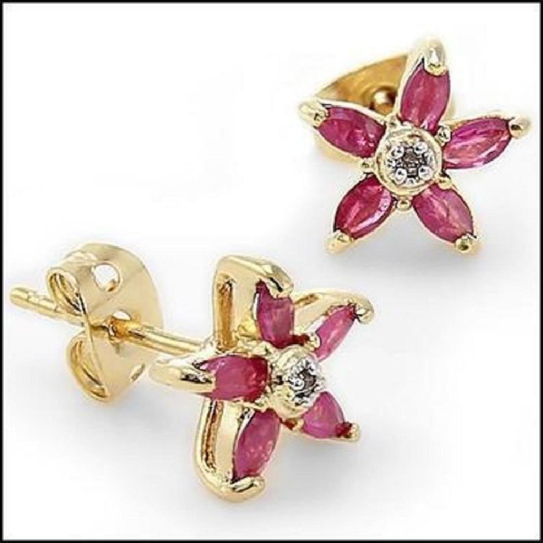 3.22 CT Ruby & Diamond Fine Designer Earrings $865