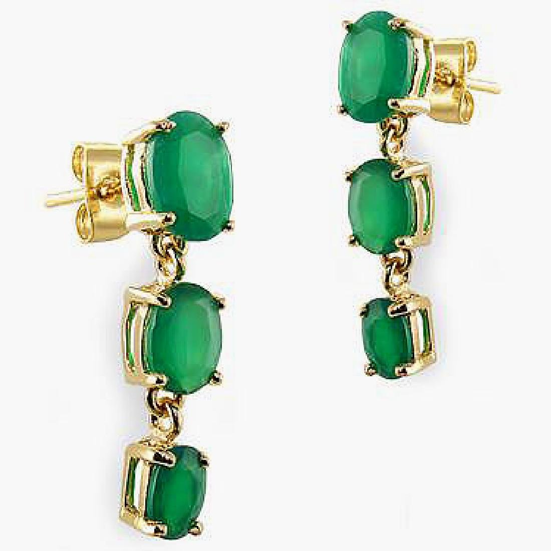 3.9 CT Green Agate Past Present Future Gold Earrings