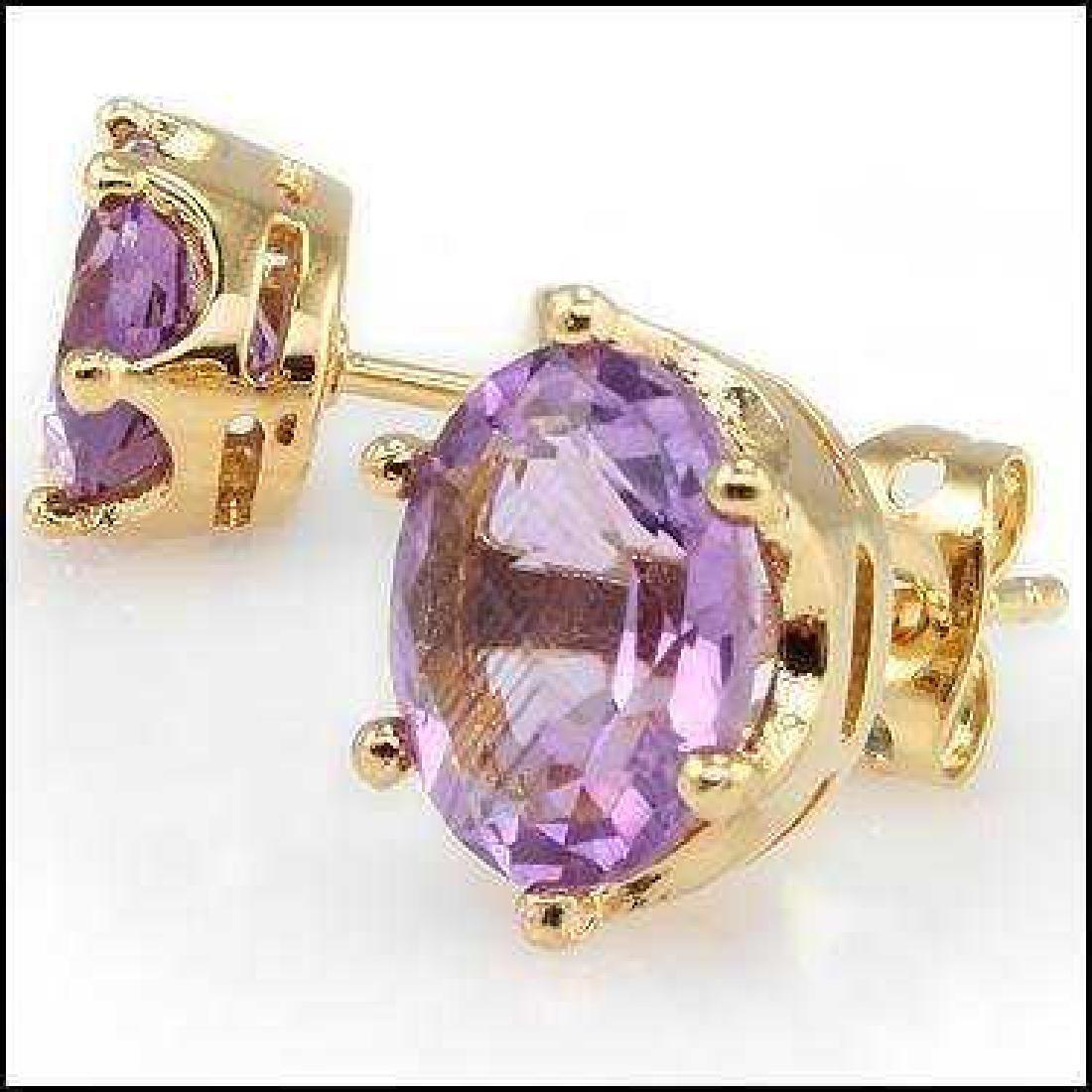4.64 CT Purple Amethyst Stud Designer Earrings $745 - 2