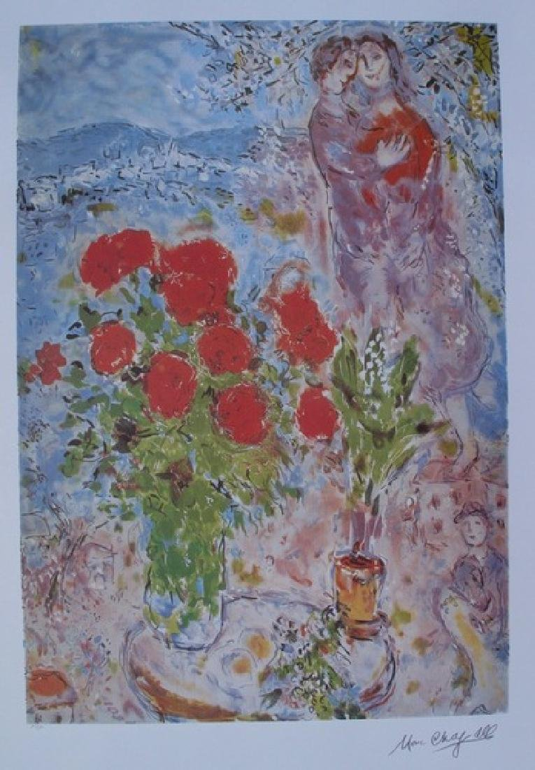 Marc Chagall RED BOUQUET WITH LOVERS Ltd Ed. Lithograph