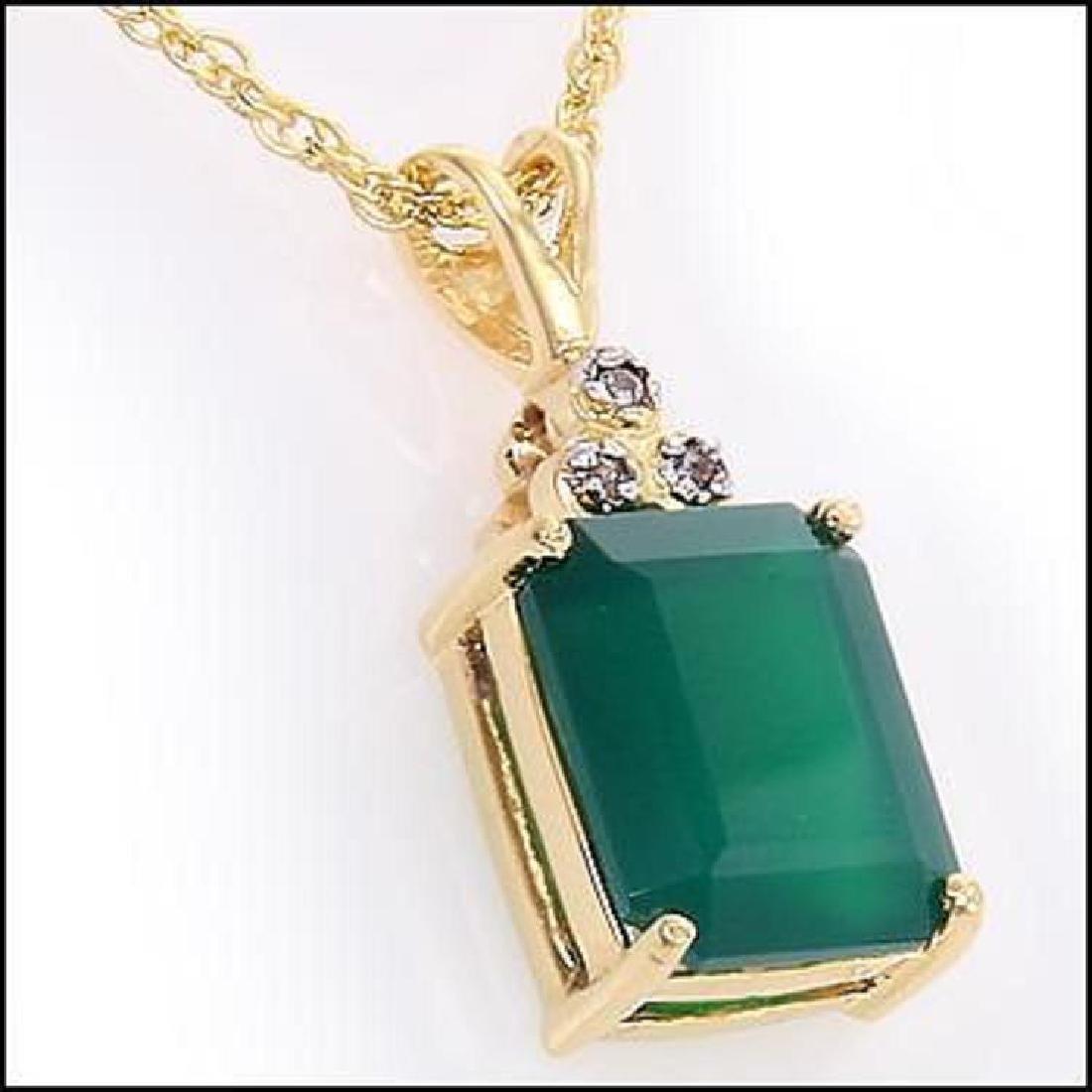 Genuine 4.7 CT Green Agate Diamond Pendant - 2