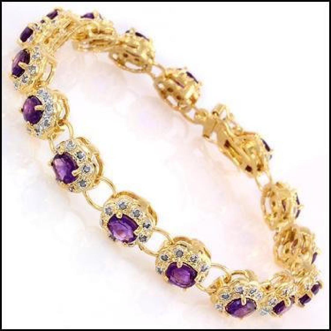 15.55 Ct Amethyst & Diamond Designer Bracelet $1,390