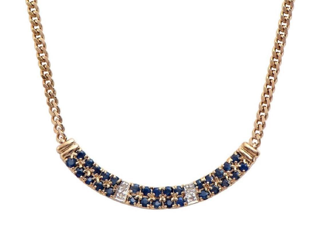 14.89 CT Sapphire & Diamond Designer Necklace MSRP
