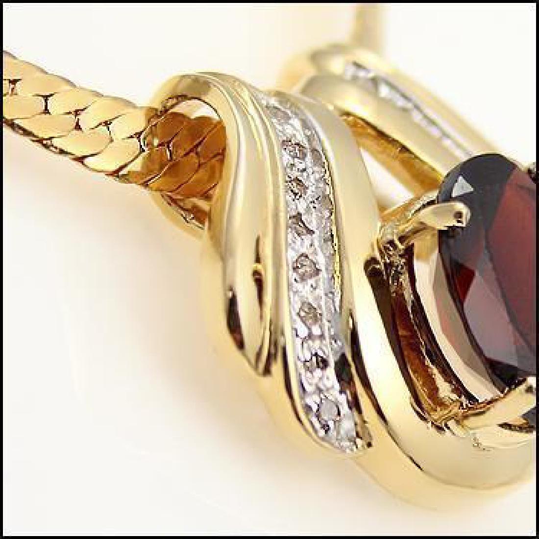 Genuine 7 CT Garnet Diamond Pendant - 2