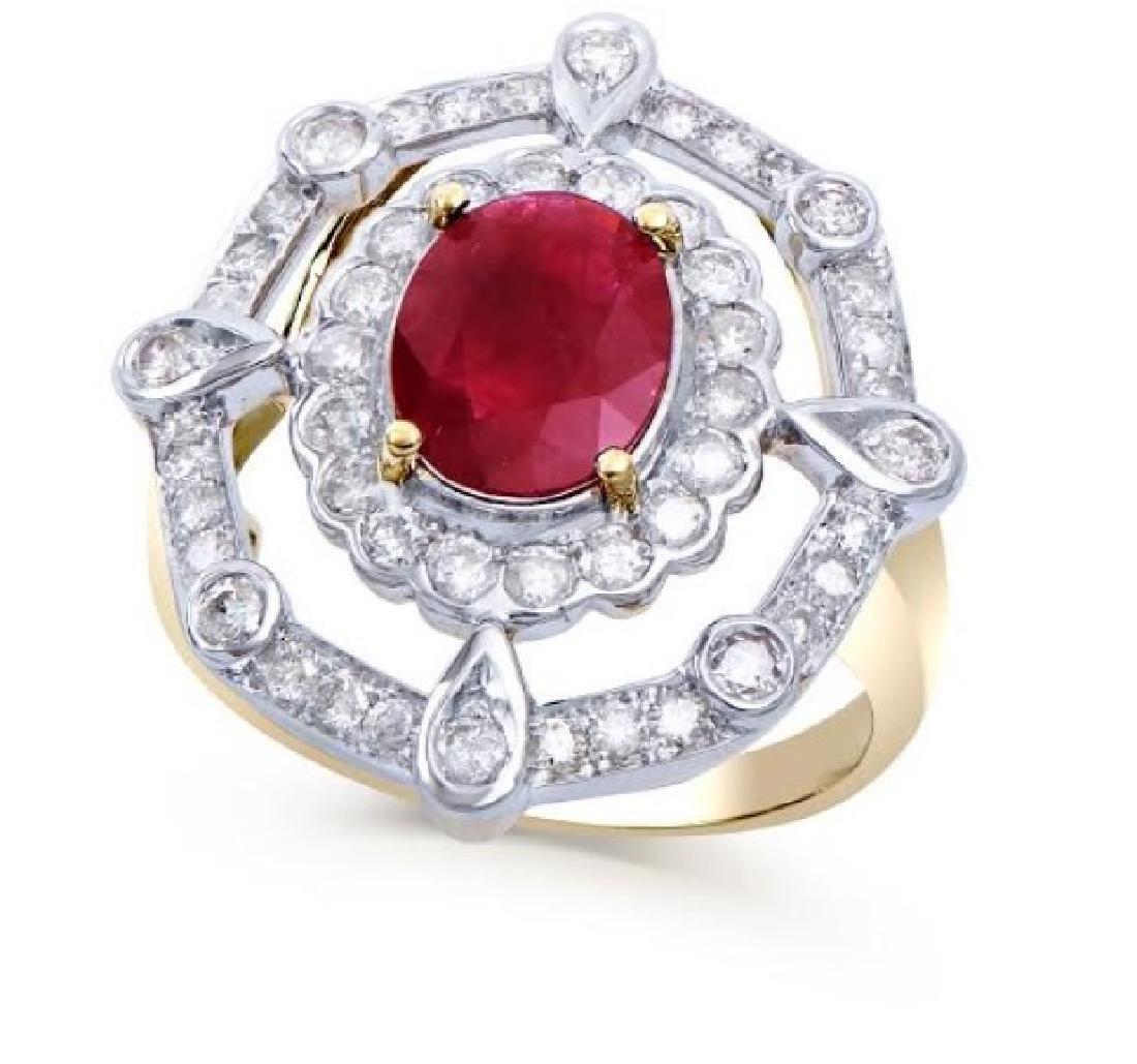 2.75 Ct Certified Ruby & Diamond Designer Ring $16,800!