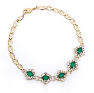 7a3a4ccb65f84 364: Gucci 18K Yellow Gold Onyx, Agate & Diamond Bracel