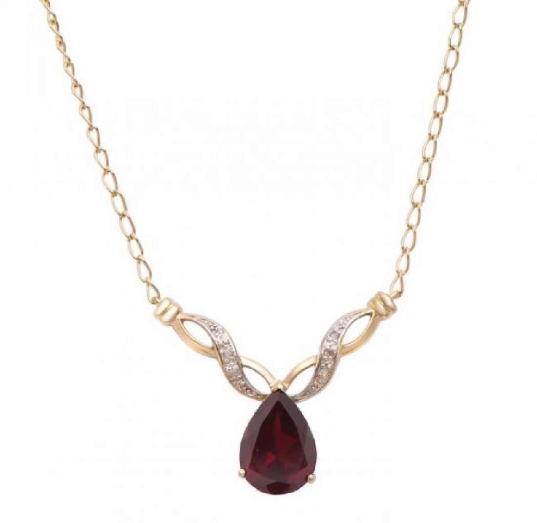 6.81 CT Garnet & Diamond Designer Necklace $1,155