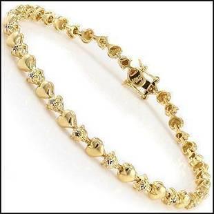 015 Ct Diamond 18KGP Designer Heart Bracelet