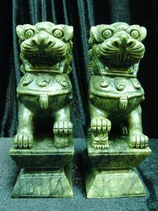 "Handcrafted Pair of 6"" green jade foodogs"