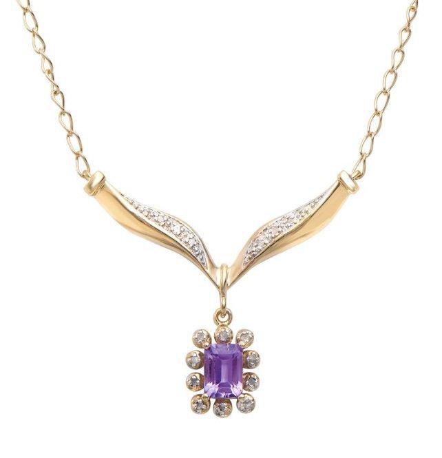7.34 CT Amethyst & Diamond Designer Necklace $1,285