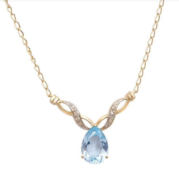 5.09 CT Blue Topaz & Diamond 18KGP Designer Necklace