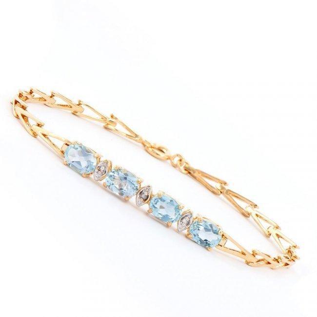 3.60 ctw Blue Topaz & Diamond Designer Bracelet $945