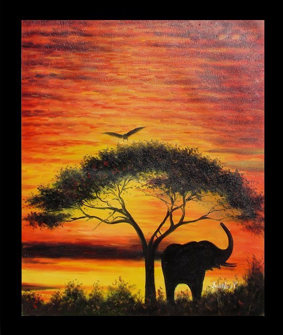 3: Large Framed Hand Signed Oil Painting African Skies