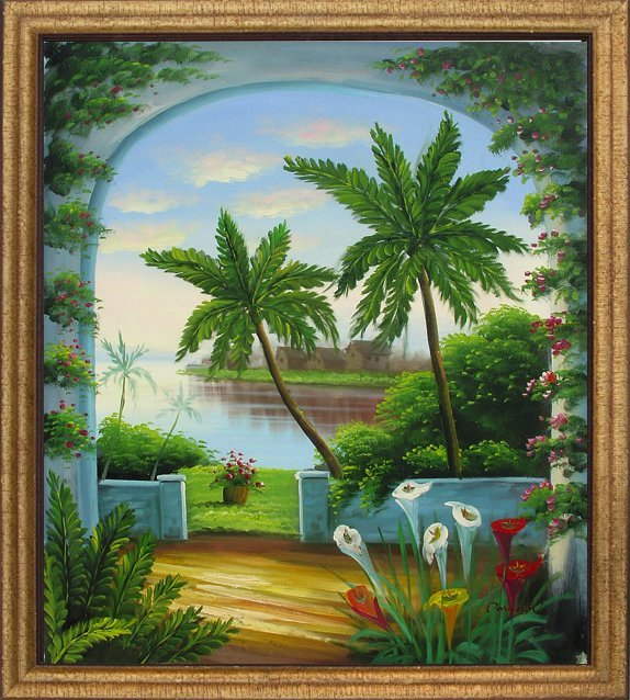 9: Large Framed Hand Signed Oil Painting Arch in Hawaii