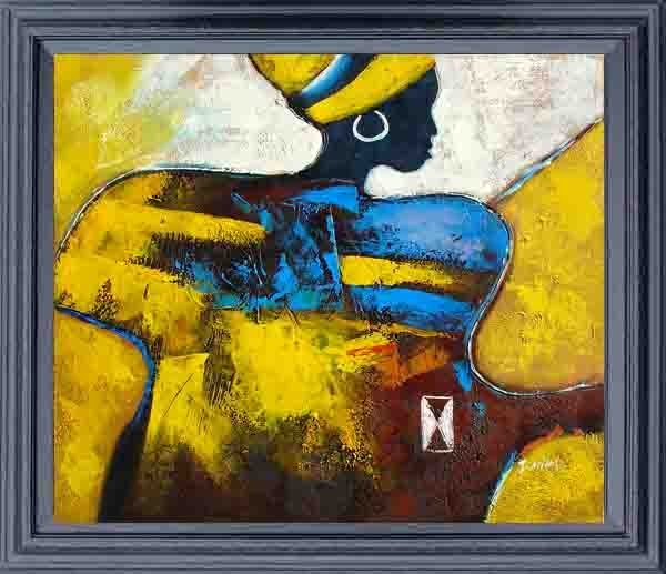 12: Large Framed Hand Signed Oil Painting African Spiri