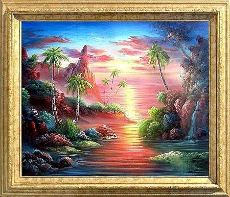 15: Large Framed Hand Signed Oil Painting Tropical Suns