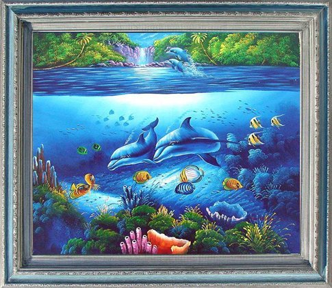 16: Large Framed Hand Signed Oil Painting Dolphin Unive