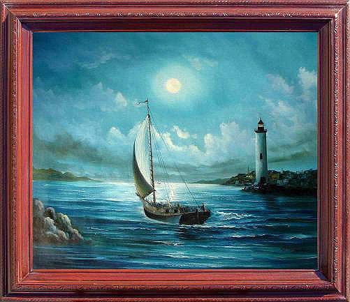 17: Large Framed Hand Signed Oil Painting Moonlight Son