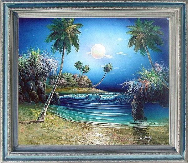 18: Large Framed Hand Signed Oil Painting Tropical Seas