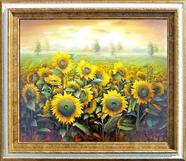 19: Large Framed Hand Signed Oil Painting Field of Gold